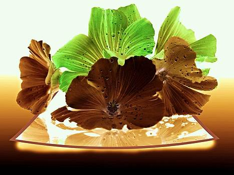 Green And Brown Glowing Flowers by Laura Lovell