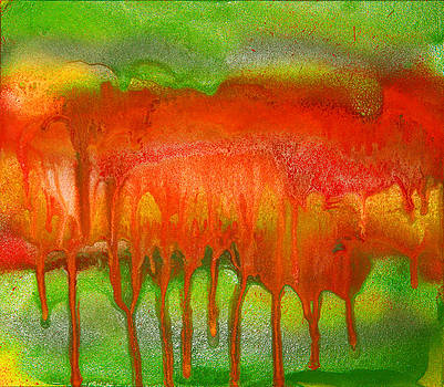 Green and Orange Abstract by Julia Fine Art