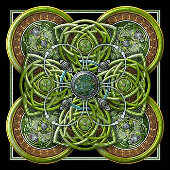 Green and Silver Celtic Cross by Ricky Barnes