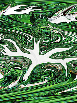 Green and White Abstract by Ella Char