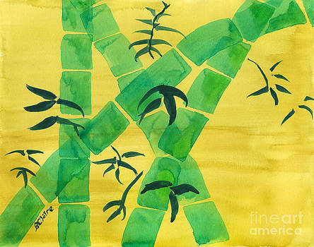 Beverly Claire Kaiya - Green Bamboo Grove on Yellow