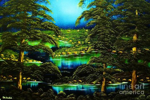 Green Blue Waters-ORIGINAL SOLD-buy Giclee  Print Nr 29 of Limited Edition of 40 prints  by Eddie Michael Beck