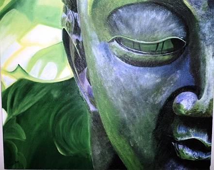Green Buddha Statue Painting by Anuradha Gupta
