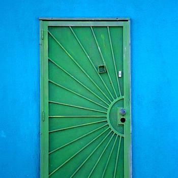 Art Block Collections - Green Door on Blue Wall