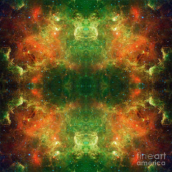 Green Dragon Heads Abstract Space Art by Animated Sentiments
