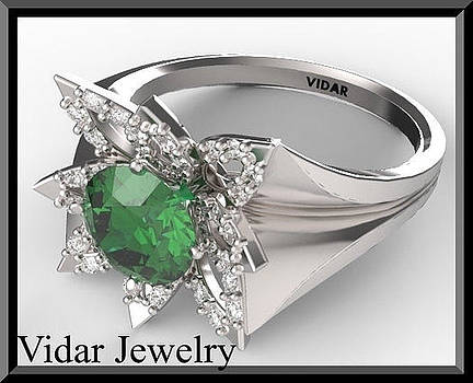 Green Emerald And Diamond 14k White Gold Flower Engagement Ring by Roi Avidar