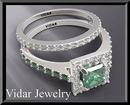 Green Emerald And Diamond 14k White Gold Wedding Ring Set by Roi Avidar