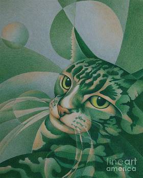 Green Feline Geometry by Pamela Clements