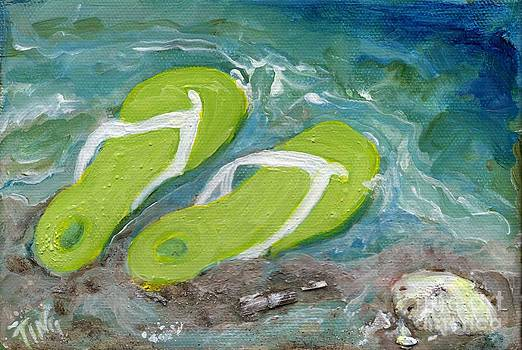 Green Fliip Flops on Tybee by Doris Blessington