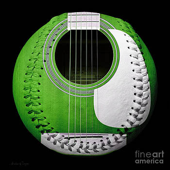 Andee Design - Green Guitar Baseball White Laces Square