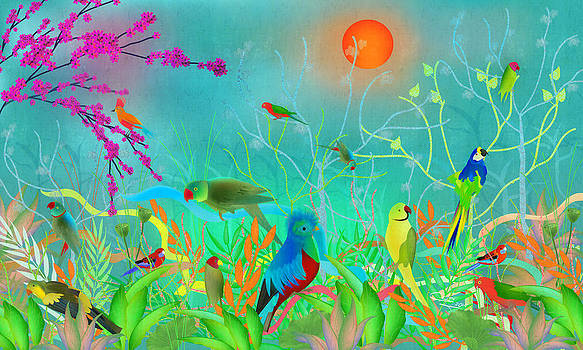 Green Landscape With Parrots - Limited Edition Of 15 by Gabriela Delgado