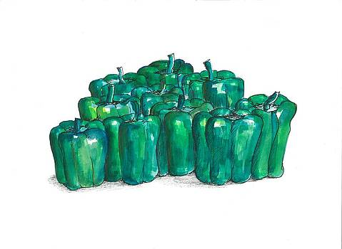 Green Peppers by Jim  Romeo