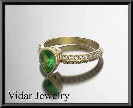 Green Peridot And Diamond 14k Yellow Gold Engagement Ring by Roi Avidar