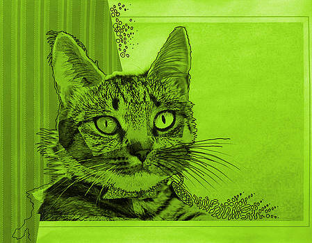 Amy Giacomelli - Green Sanguine ... Abstract cat art painting