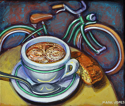 Green Schwinn bicycle with cappuccino and biscotti. by Mark Howard Jones