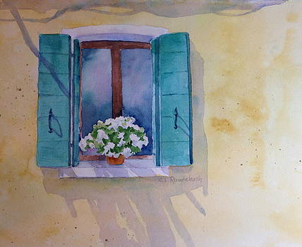 Green Shutters and White Geraniums by Cynthia Roudebush