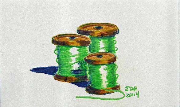Green Spools of Thread by Joseph Hawkins