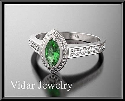 Green Tourmaline And Diamonds 14k White Gold Engagement Ring by Roi Avidar