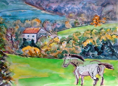 Grey Horse In Autumn Pilat Mountain by Chevassus-agnes Jean-pierre