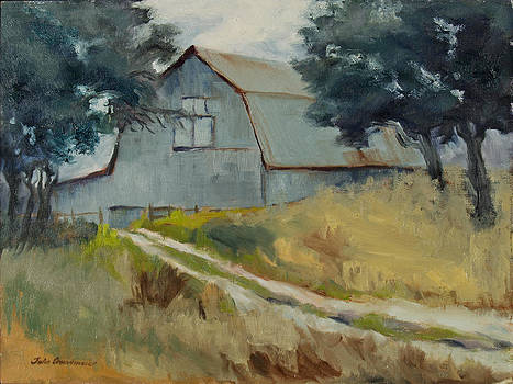 Grey on Grey Hill Country Barn by Julia Grundmeier