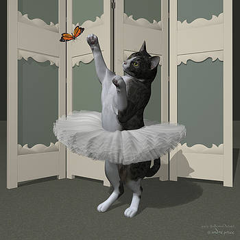 Grey Tabby Ballet Cat on Paw-te by Alfred Price
