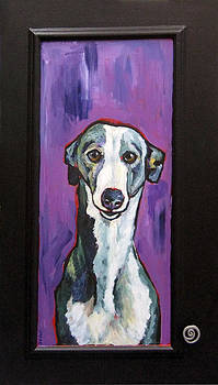 Greyhound with New Knob by Janet Burt