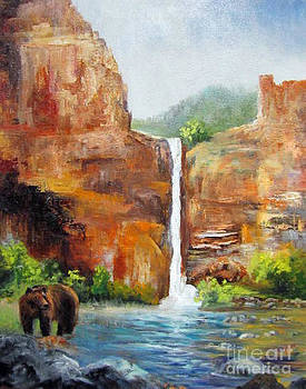 Grizzly Bear Falls Landscape by Barbara Haviland