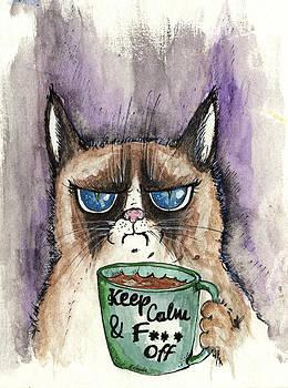 Angel  Tarantella - grumpy cat having  morning coffee