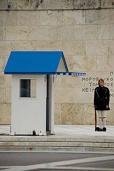Guard at Tomb of Unknown Soldier in Athens by Cliff C Morris Jr