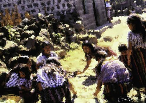Guatemalan Girls Playing by Elizabeth Iglesias
