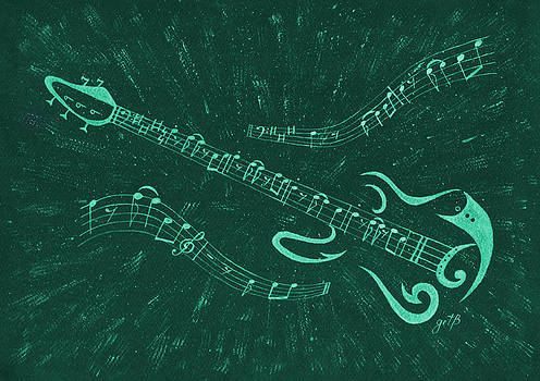 Guitar abstract digital art by Costinel Floricel