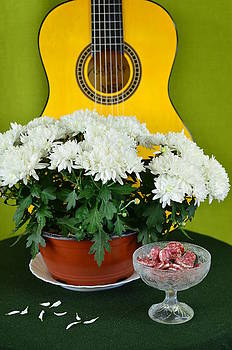 Gynt   - Guitar flowers and sausages - joke or Funny Greeting Card