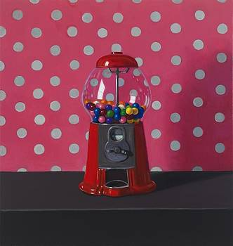 Gumball Machine with Pink Polka Dot Fabric by Maureen O'Connor