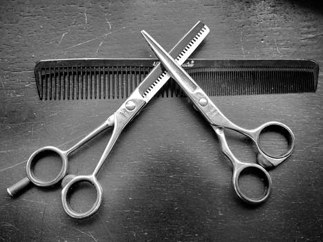 Hair Cut Scissors and Comb by Bobby Miranda