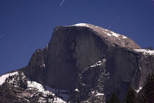 Half Dome and star trails by Richard Berry