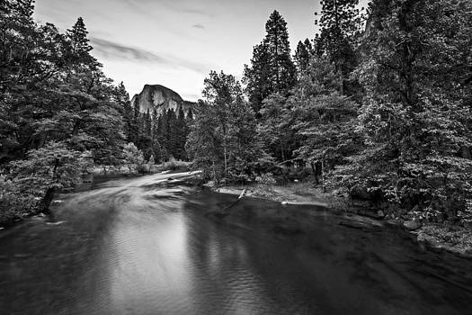 Half Dome at Twilight from Sentinal Bridge Black and White by Bill Boehm