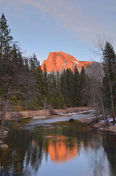 Half Dome Sunset Reflections by Stephen  Vecchiotti