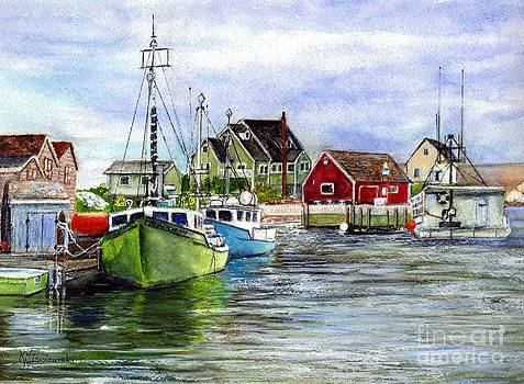 Peggys Cove Nova Scotia Watercolor by Carol Wisniewski