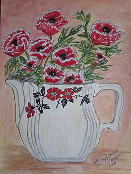 Hall China Red Poppy and Poppies by Kathy Marrs Chandler