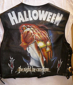 Halloween painted leather vest by danielle vergne by Danielle Vergne