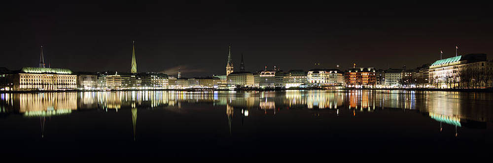 Hamburg Skyline at Night by Marc Huebner