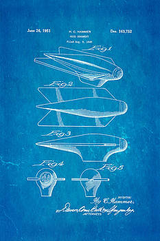 Hammer Hood Ornament Patent Art 1951 Blueprint by Ian Monk