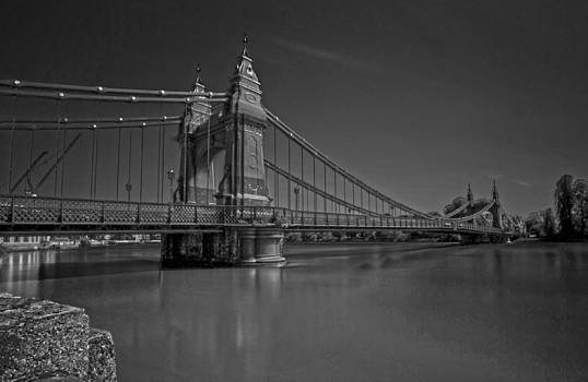 David French - Hammersmith Thames Bridge bw