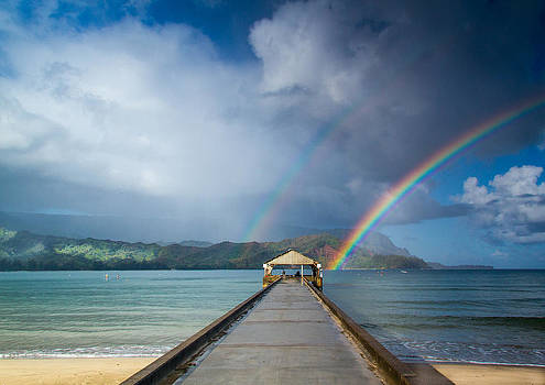Roger Mullenhour - Hanalei Bay Pier and Double Rainbow