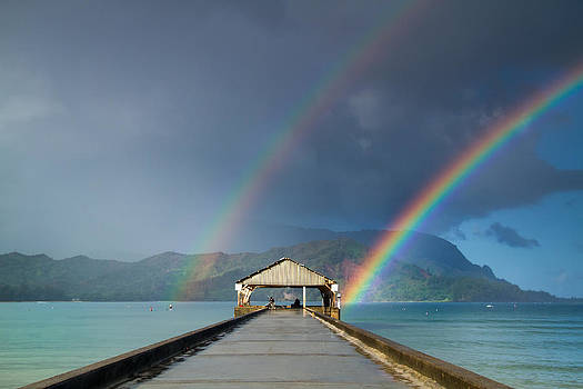 Roger Mullenhour - Hanalei Pier and Double Rainbow