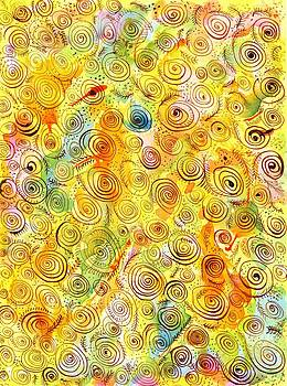Ion vincent DAnu - Hand-drawn Abstract Background with Spirals on Yellow Green Pink