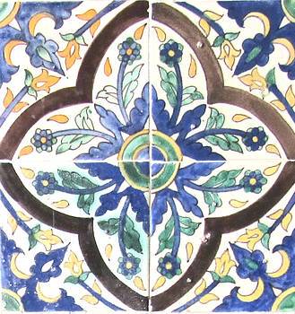 Hand Painted Islamic Tile by Louise Grant
