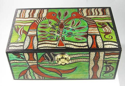 Hand Painted Maori Design Wooden Box by Vagabond Folk Art - Virginia Vivier