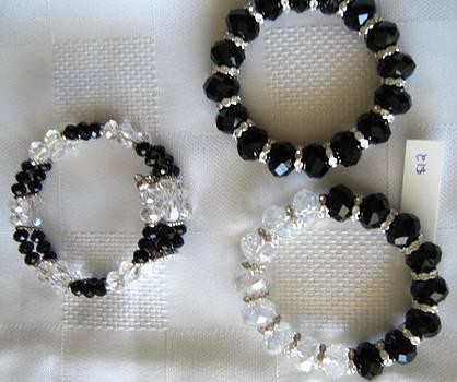 Handmade Black White Crystal Braces by Fatima Pardhan