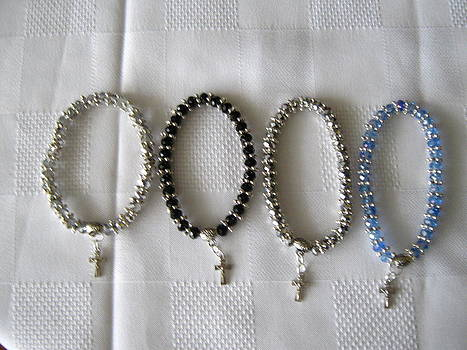 Handmade Crystal Bracelets with Crucifix by Fatima Pardhan
